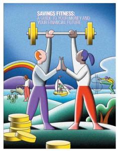 Savings Fitness Plan, courtesy of DOL, EBSA & DOL-EBSA-CFP Board. Booklet illustration courtesy of DOL-EBSA