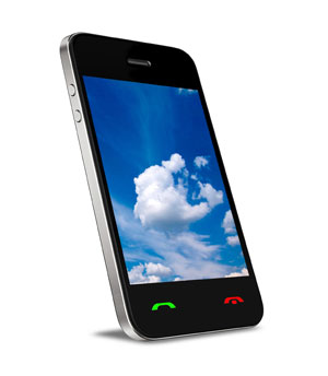 mobile phone with cloud screenshot