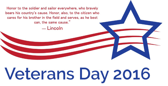 Message Announcing Veterans Day 2016