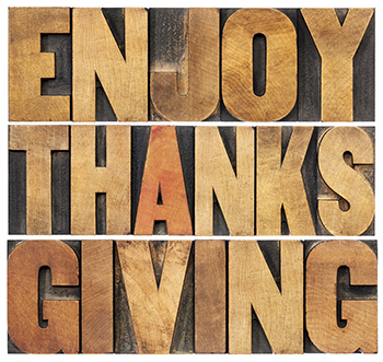Wood block greeting Enjoy Thanksgiving