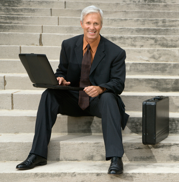 Male CIO Sitting on Steps