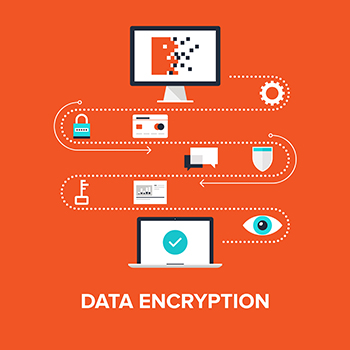 Abstract flat vector illustration of data encryption concept isolated on red background. Design elements for web