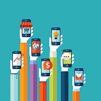 Cartoon illustration of 7 hands holding mobile phones