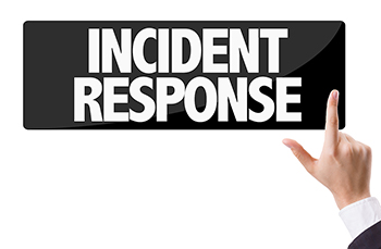 Incident Response Sign with Man Pointing Index Finger at the message