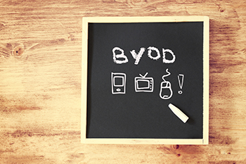 Bring Your Own Device Acronym Written on Blackboard